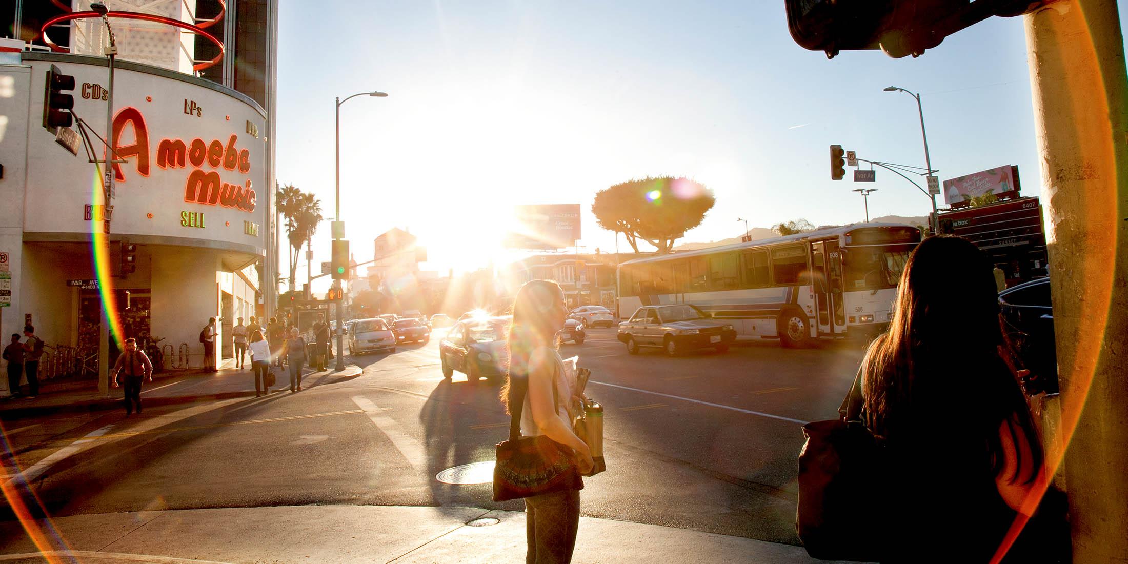 People Walking at Hollywood Blvd